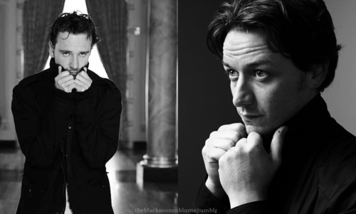 James McAvoy and Michael Fassbender वॉलपेपर possibly with a portrait called James & Michael