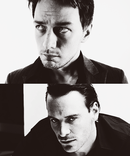 James McAvoy and Michael Fassbender wallpaper possibly containing a business suit and a portrait titled James & Michael
