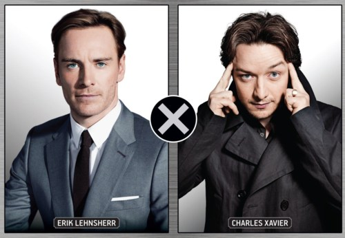 James McAvoy and Michael Fassbender वॉलपेपर containing a business suit, a suit, and a double breasted suit titled James & Michael