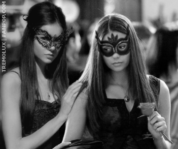 "Katherine Pierce and Elena Gilbert wallpaper probably with sunglasses titled Katherine & Elena - ""Masquerade"""