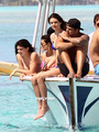 Kendall and Kylie Jenner in a Bikini during Holidays in Bora Bora