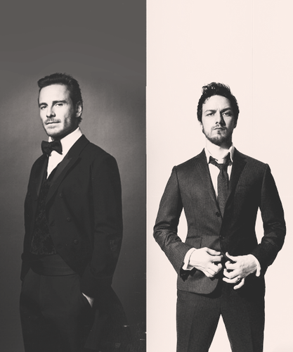 James McAvoy and Michael Fassbender hình nền containing a business suit and a suit entitled McFassy