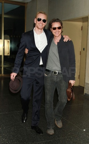 James McAvoy and Michael Fassbender wallpaper containing a business suit and sunglasses titled Michael & James