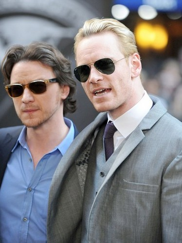 James McAvoy and Michael Fassbender वॉलपेपर containing a business suit and sunglasses called Michael & James