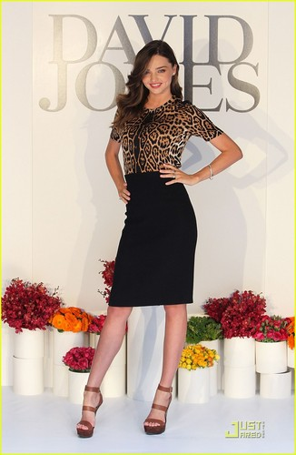 Miranda Kerr rocks an animal-print top while attending the David Jones Spring/Summer Fashion Preview