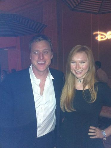 molly quinn achtergrond possibly with a well dressed person, a business suit, and a portrait titled Molly with Alan Tudyk