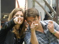 Nathan and Stana on the swings - castle photo