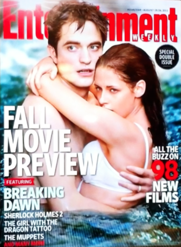 New Edward and Bella - Breaking Dawn Movie still on the cover of EW