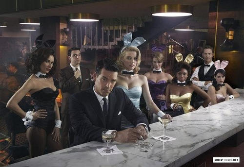 "amber heard wallpaper containing a jantar table, a brasserie, and a bistro, bistrô entitled New ""The playboy Club"" Promos"