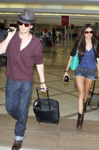Nina - Walking at LAX Airport with Ian - August 08, 2011