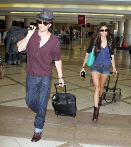 Nina - Walking at LAX Airport with Ian - August 08, 2011