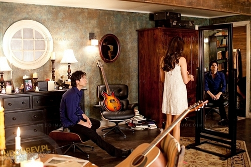 Nina Dobrev wallpaper possibly with a living room and a drawing room called Nina behind the scenes of TVD season 3!