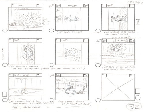 Original Hand Drawn Tom & Jerry Production Storyboard