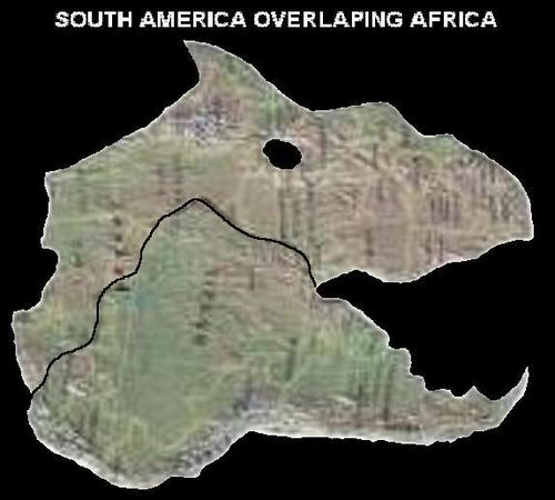 Overlaping South America and Africa