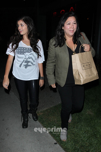 Rebecca Black leaving ular boa, boa in some tight-fitting wet look leggings, Aug 10