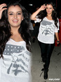 Rebecca Black leaving boa in some tight-fitting wet look leggings, Aug 10