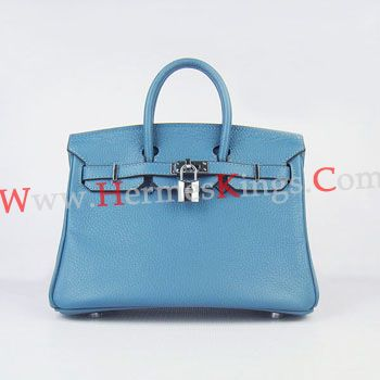 Replica Hermes Birkin 25cm Handbag 6068 Blue Silver