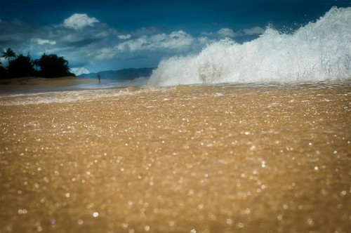 Sand & Water View On Hawaiian Beach, Oahu
