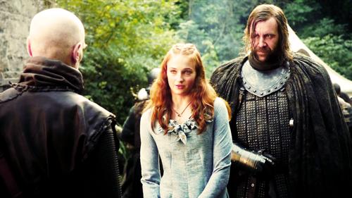 Sansa Stark with Sandor Clegane and Ilyn Payne
