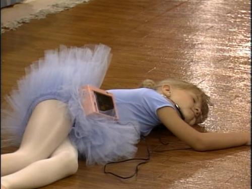 Stephanie pretending to be a dead swan