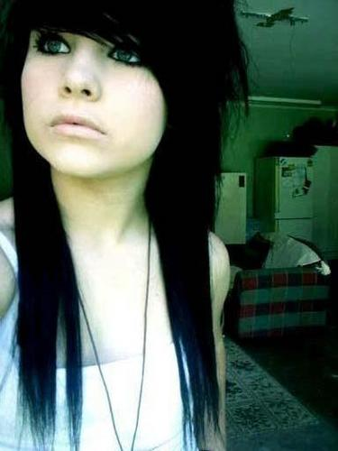 cute Emo girl with black hair and blue eyes