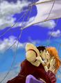 nami and luffy kissin
