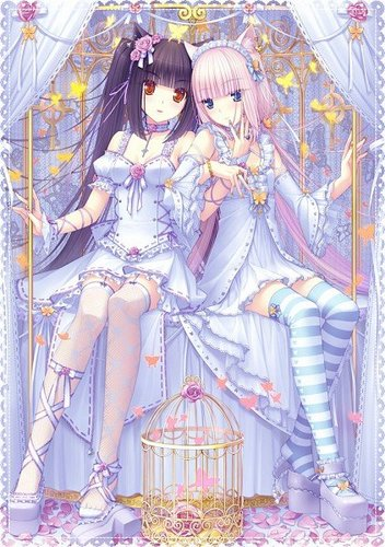 Neko anime Characters karatasi la kupamba ukuta entitled neko girls