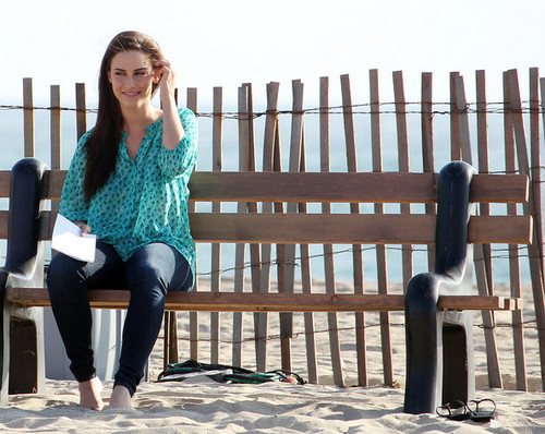 "A radiant Jessica Lowndes takes a break from filming a romantic пляж, пляжный scene on the set of ""90210"""