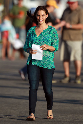 """A radiant Jessica Lowndes takes a break from filming a romantic пляж, пляжный scene on the set of """"90210"""""""