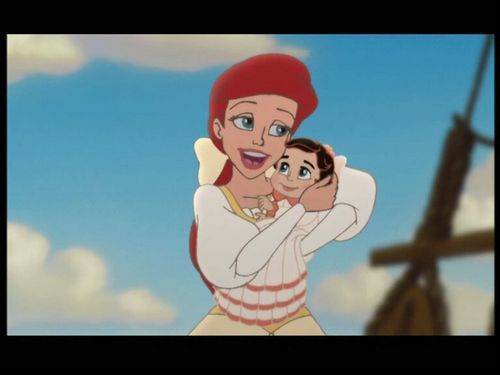 Ariel and Eric kertas dinding possibly with Anime called Ariel and baby Melody