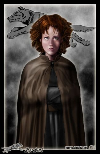 House Stark wallpaper possibly containing a cloak titled Arya Stark by Amoka