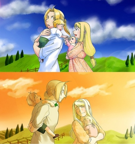 Edward Elric and Winry Rockbell karatasi la kupamba ukuta containing anime entitled Family Walk