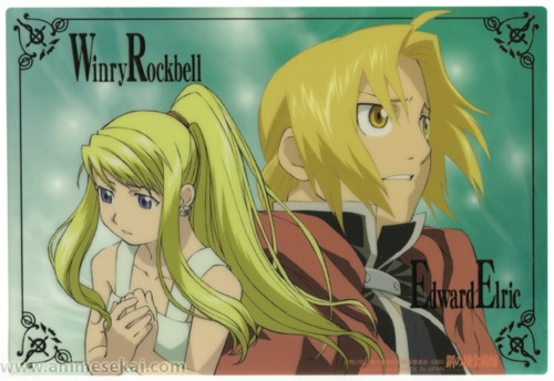 Edward Elric and Winry Rockbell Hintergrund containing Anime titled EdWin postcards!