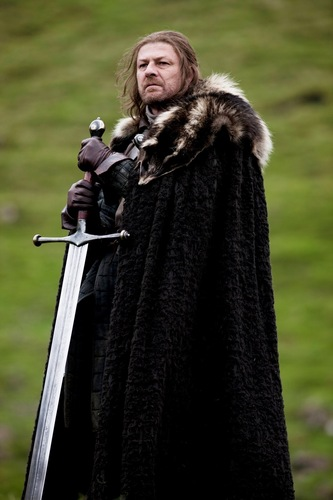 House Stark wallpaper probably with a cloak and a fur coat titled Eddard Stark with Ice