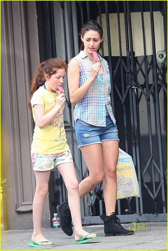 "Emmy and Emma Kenney shoot season 2 of ""Shameless"" - August 8, 2011"