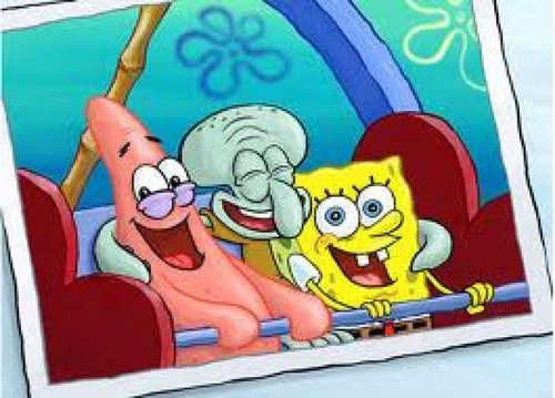 SpongeBob SquarePants karatasi la kupamba ukuta probably containing anime entitled Marafiki