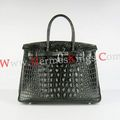 Hermes Birkin 30cm Crocodile head vein Handbags black - good-luck-charlie photo