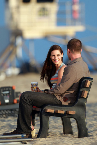 "Jessica Lowndes films a romantic strand scene on the set of ""90210"" in Los Angeles"