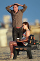 Jessica Lowndes films a romantic strand scene on the set of