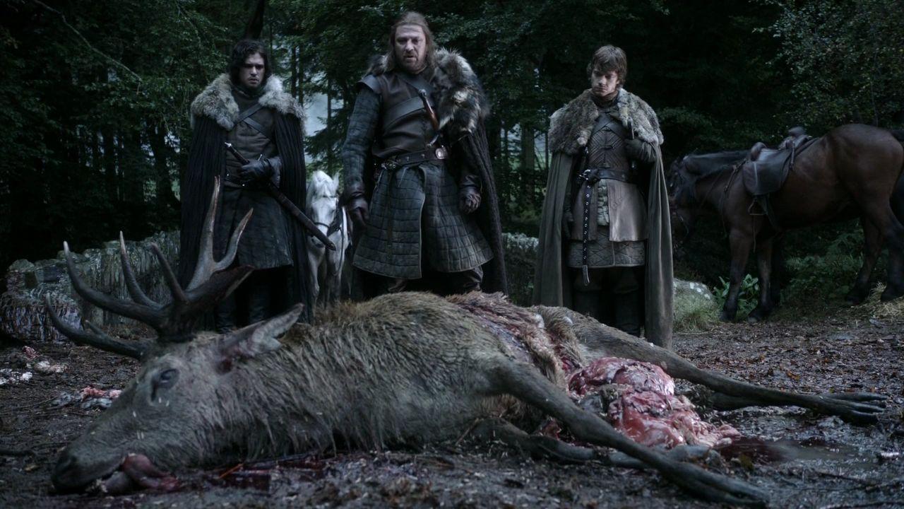 Jon Snow with Eddard Stark and Theon Greyjoy