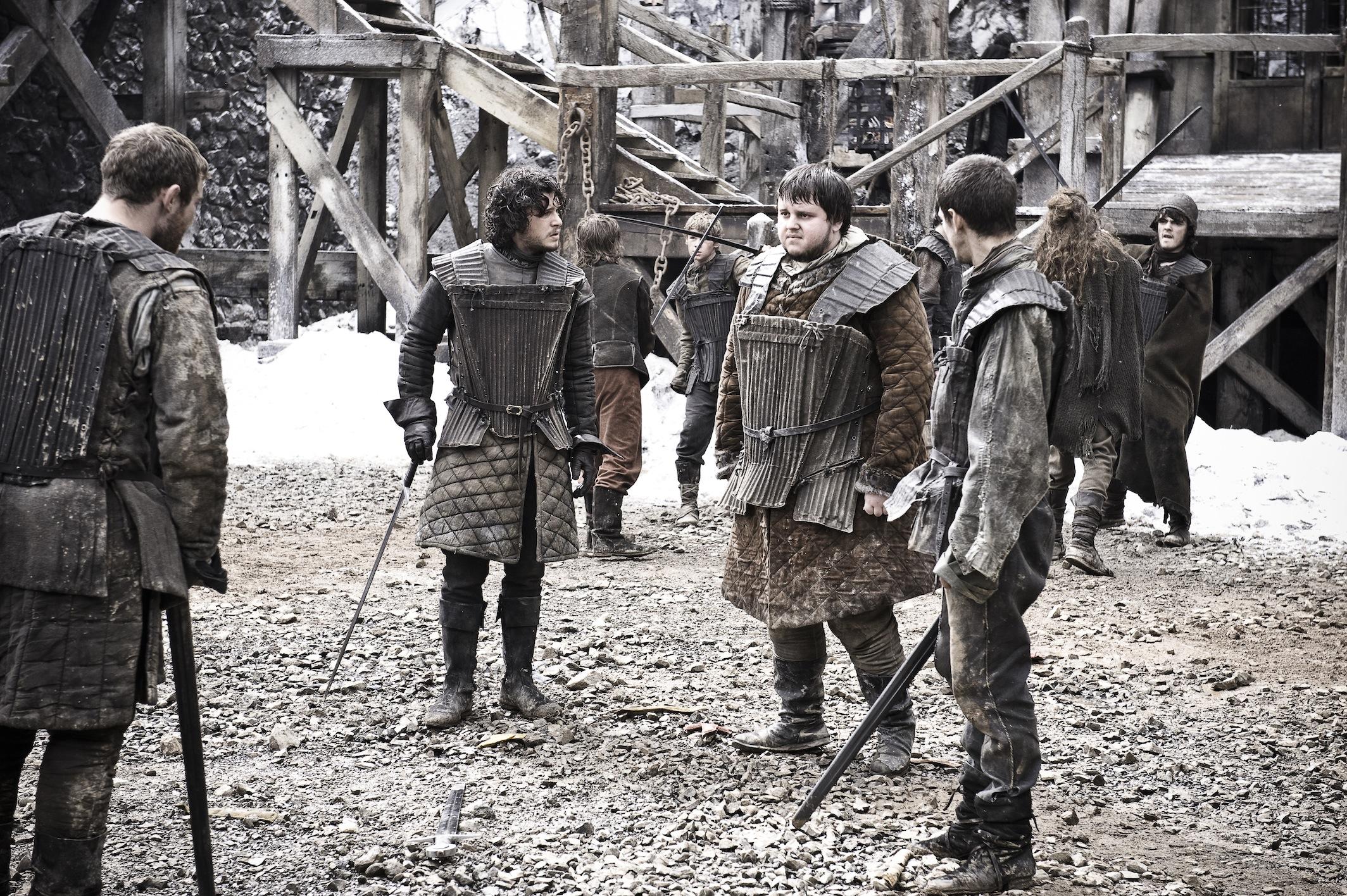 Jon Snow with Samwell, Pypar and Grenn