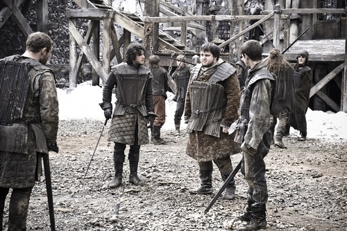 Jon Snow with Samwell, Pypar and Grenn