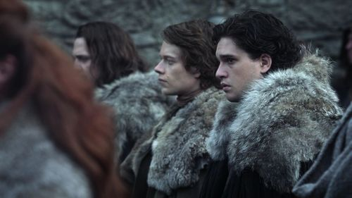 Jon Snow with Theon Greyjoy and Jory Cassel
