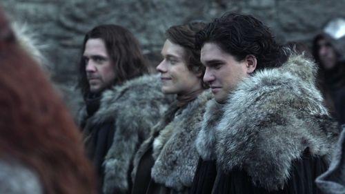 Jon Snow with Theon Greyjoy and Jory Cassel
