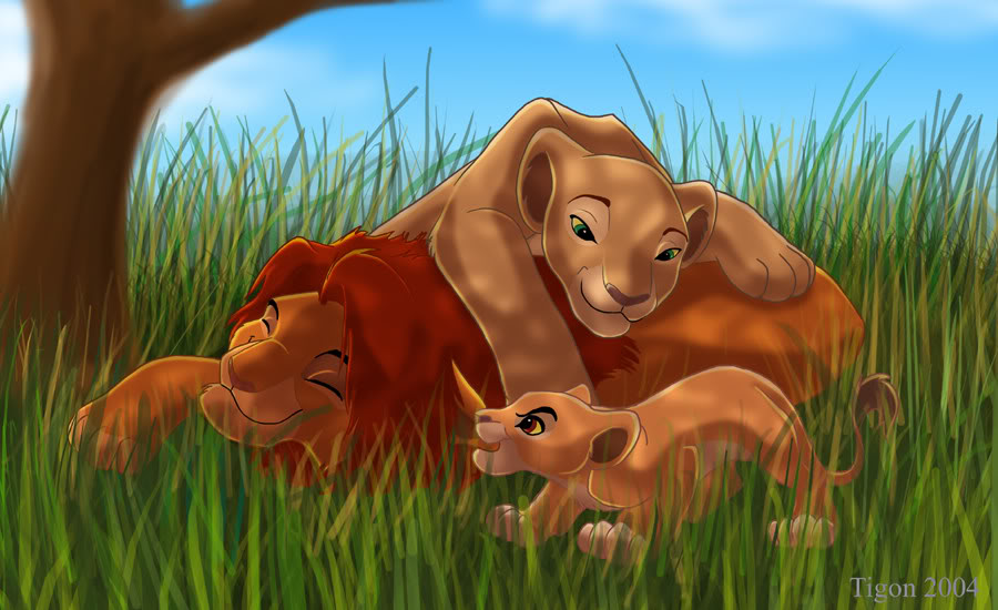 Sarabi (Simba's mother), Nala and baby Kiara, and Sarafina ...