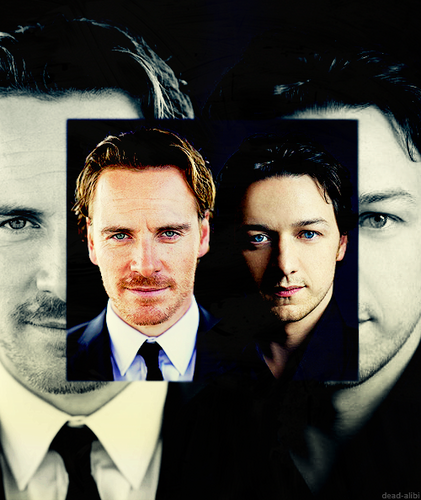 James McAvoy and Michael Fassbender kertas dinding with a business suit called McFassy