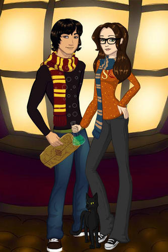 Me and Kyle as Hogwarts students!