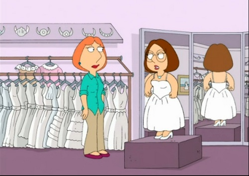 Family Guy Hintergrund possibly containing Anime entitled Meg and Lois Griffin (Peter's Daughter) on the Wedding Dress