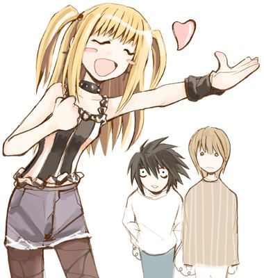 Misa Amane wolpeyper with anime entitled Misa, L, and Light