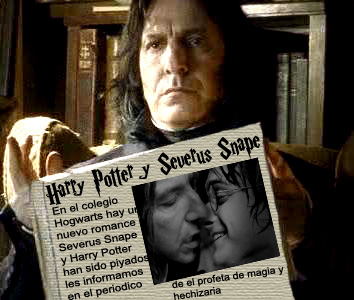 Severus Snape wolpeyper with a newspaper and anime called SNARRY SPANISH FUNNY